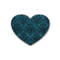Damask1 Black Marble & Teal Leather Heart Coaster (4 Pack)  by trendistuff