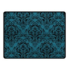 Damask1 Black Marble & Teal Leather Fleece Blanket (small) by trendistuff