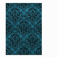 Damask1 Black Marble & Teal Leather Small Garden Flag (two Sides) by trendistuff