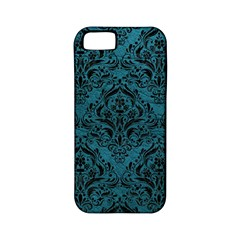 Damask1 Black Marble & Teal Leather Apple Iphone 5 Classic Hardshell Case (pc+silicone) by trendistuff