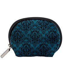 Damask1 Black Marble & Teal Leather Accessory Pouches (small)  by trendistuff