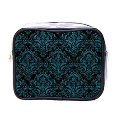 Damask1 Black Marble & Teal Leather (r) Mini Toiletries Bags by trendistuff