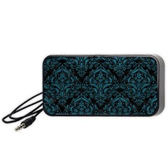 Damask1 Black Marble & Teal Leather (r) Portable Speaker by trendistuff