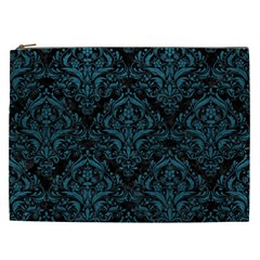 Damask1 Black Marble & Teal Leather (r) Cosmetic Bag (xxl)  by trendistuff