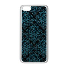 Damask1 Black Marble & Teal Leather (r) Apple Iphone 5c Seamless Case (white)