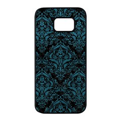 Damask1 Black Marble & Teal Leather (r) Samsung Galaxy S7 Edge Black Seamless Case by trendistuff