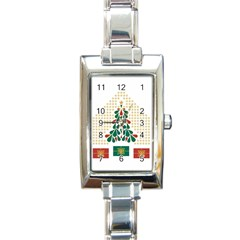 Christmas Tree Present House Star Rectangle Italian Charm Watch
