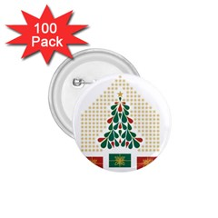 Christmas Tree Present House Star 1 75  Buttons (100 Pack)