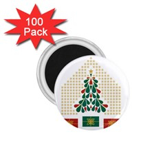 Christmas Tree Present House Star 1 75  Magnets (100 Pack)