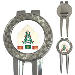 Christmas Tree Present House Star 3 In 1 Golf Divots