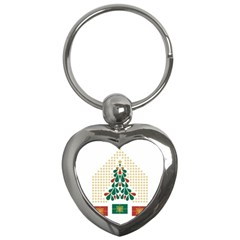 Christmas Tree Present House Star Key Chains (heart)