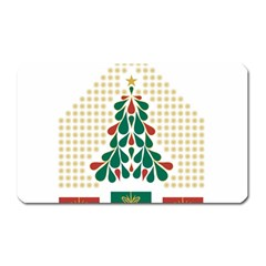Christmas Tree Present House Star Magnet (rectangular)