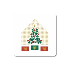 Christmas Tree Present House Star Square Magnet