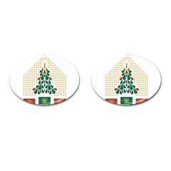 Christmas Tree Present House Star Cufflinks (oval) by Celenk