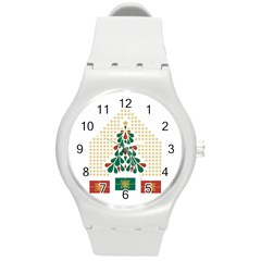 Christmas Tree Present House Star Round Plastic Sport Watch (m)