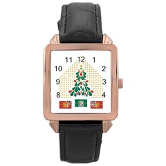 Christmas Tree Present House Star Rose Gold Leather Watch
