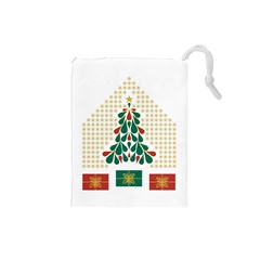 Christmas Tree Present House Star Drawstring Pouches (small)  by Celenk