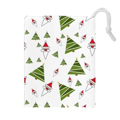 Christmas Santa Claus Decoration Drawstring Pouches (extra Large) by Celenk