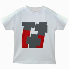 Cross Abstract Shape Line Kids White T Shirts