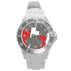 Cross Abstract Shape Line Round Plastic Sport Watch (l)