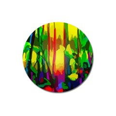 Abstract Vibrant Colour Botany Magnet 3  (round) by Celenk