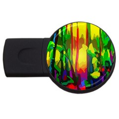 Abstract Vibrant Colour Botany Usb Flash Drive Round (2 Gb) by Celenk