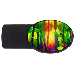Abstract Vibrant Colour Botany Usb Flash Drive Oval (4 Gb)