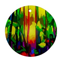 Abstract Vibrant Colour Botany Round Ornament (two Sides)