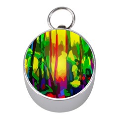 Abstract Vibrant Colour Botany Mini Silver Compasses