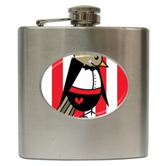Bird Cute Design Cartoon Drawing Hip Flask (6 Oz) by Celenk