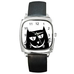 Cat Vector Clipart Figure Animals Square Metal Watch by Celenk
