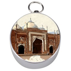 Agra Taj Mahal India Palace Silver Compasses by Celenk