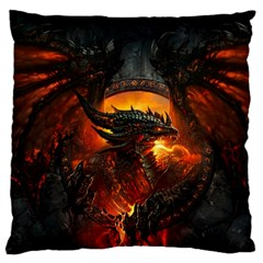 Dragon Legend Art Fire Digital Fantasy Large Flano Cushion Case (two Sides) by Celenk