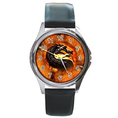 Dragon And Fire Round Metal Watch