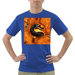 Dragon And Fire Dark T Shirt by Celenk