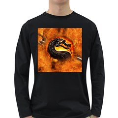 Dragon And Fire Long Sleeve Dark T Shirts