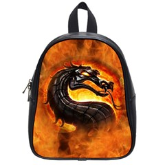 Dragon And Fire School Bag (small) by Celenk