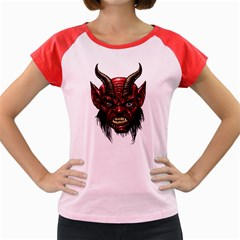 Krampus Devil Face Women s Cap Sleeve T Shirt