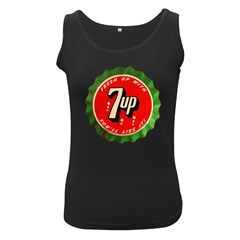 Fresh Up With  7 Up Bottle Cap Tin Metal Women s Black Tank Top