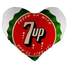Fresh Up With  7 Up Bottle Cap Tin Metal Large 19  Premium Flano Heart Shape Cushions by Celenk
