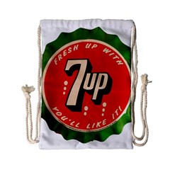 Fresh Up With  7 Up Bottle Cap Tin Metal Drawstring Bag (small)