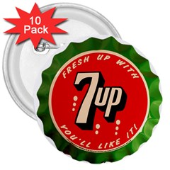 Fresh Up With  7 Up Bottle Cap Tin Metal 3  Buttons (10 Pack)