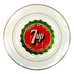 Fresh Up With  7 Up Bottle Cap Tin Metal Porcelain Plates by Celenk