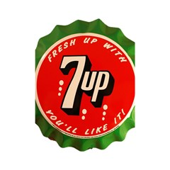 Fresh Up With  7 Up Bottle Cap Tin Metal Shower Curtain 48  X 72  (small)  by Celenk