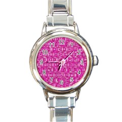 Classic Blocks,pink Round Italian Charm Watch by MoreColorsinLife