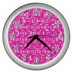 Classic Blocks,pink Wall Clocks (silver)  by MoreColorsinLife