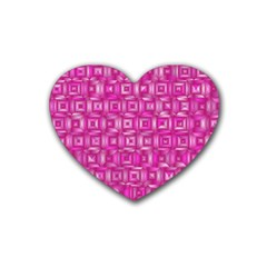 Classic Blocks,pink Rubber Coaster (heart)  by MoreColorsinLife