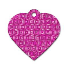 Classic Blocks,pink Dog Tag Heart (two Sides) by MoreColorsinLife