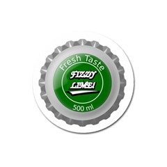 Fresh Taste Fizzy Lime Bottle Cap Magnet 3  (round) by Celenk