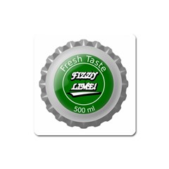 Fresh Taste Fizzy Lime Bottle Cap Square Magnet by Celenk